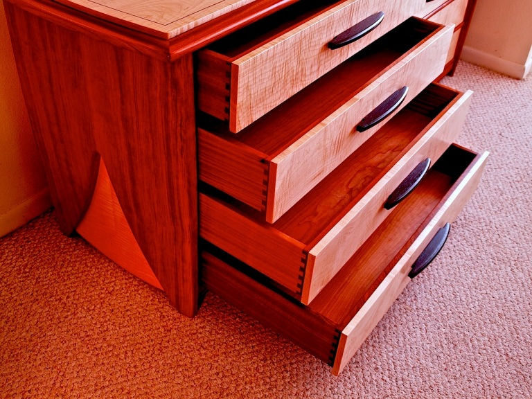 dovetailed drawers, undermount drawer slides, bubinga dresser