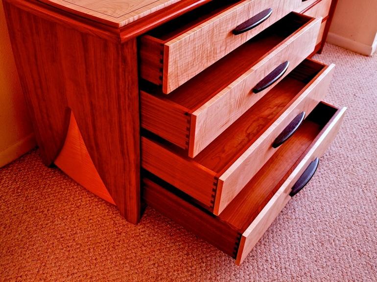 dovetailed drawers, undermount drawer slides, bubinga dresser