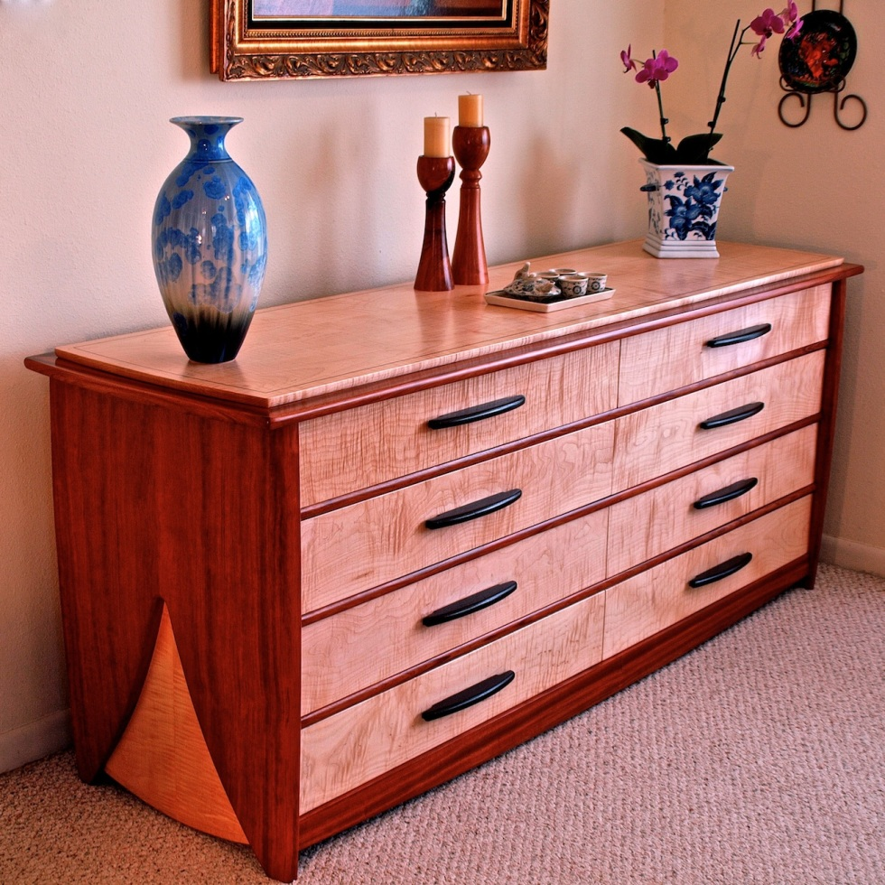dresser, chest of drawers, bubinga dresser, curly maple furniture