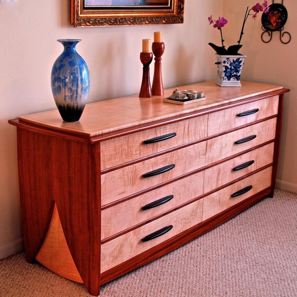 dresser, chest of drawers, bubinga dresser, curly maple furniture