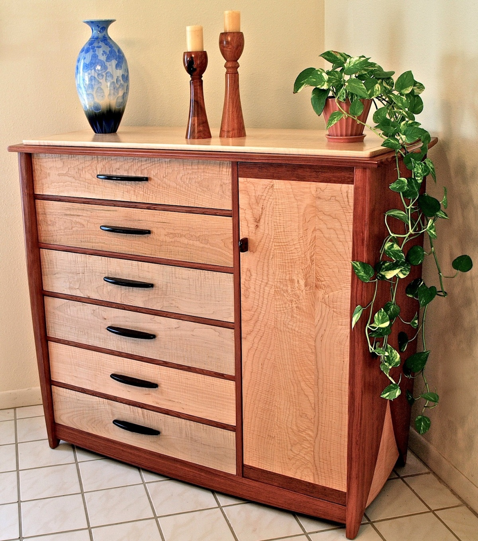 12 drawer bubinga & curly maple dresser