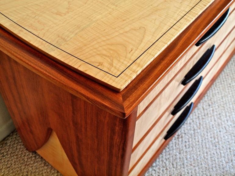 bubinga dresser, string inlay, curly maple furniture