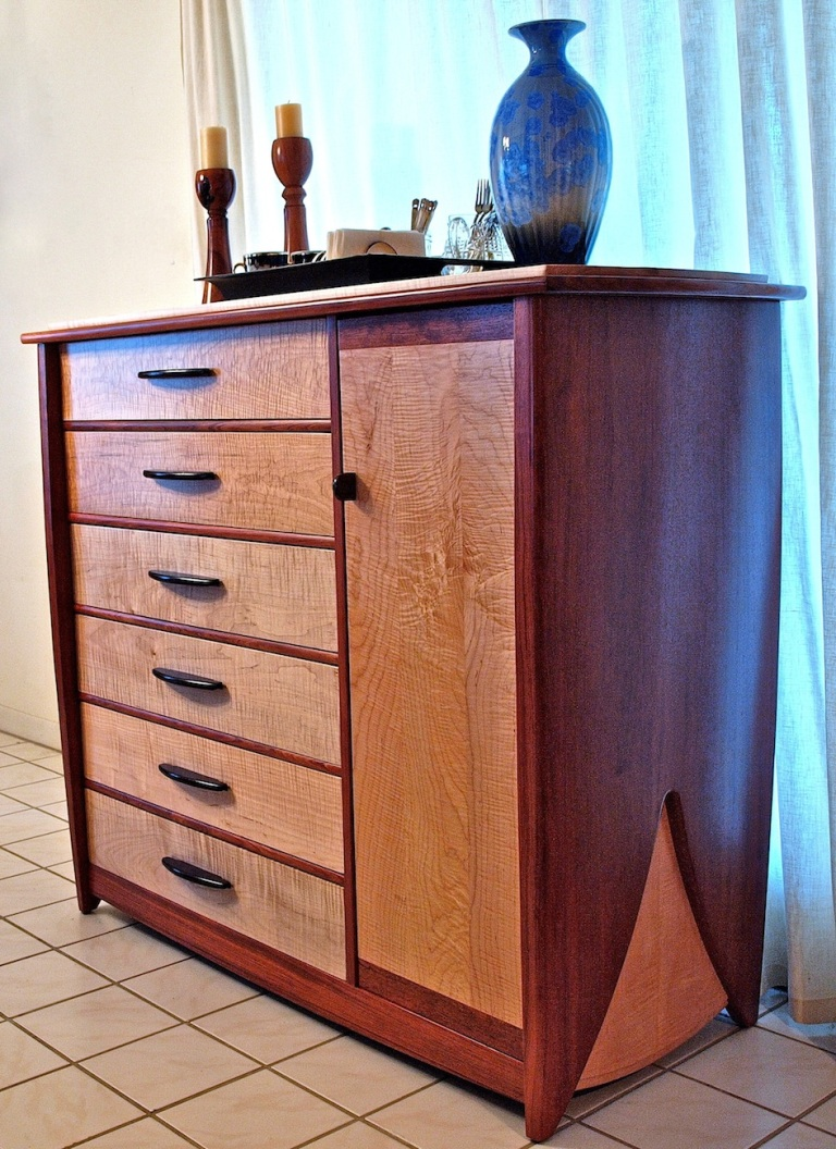 solid wood bubinga & maple dresser
