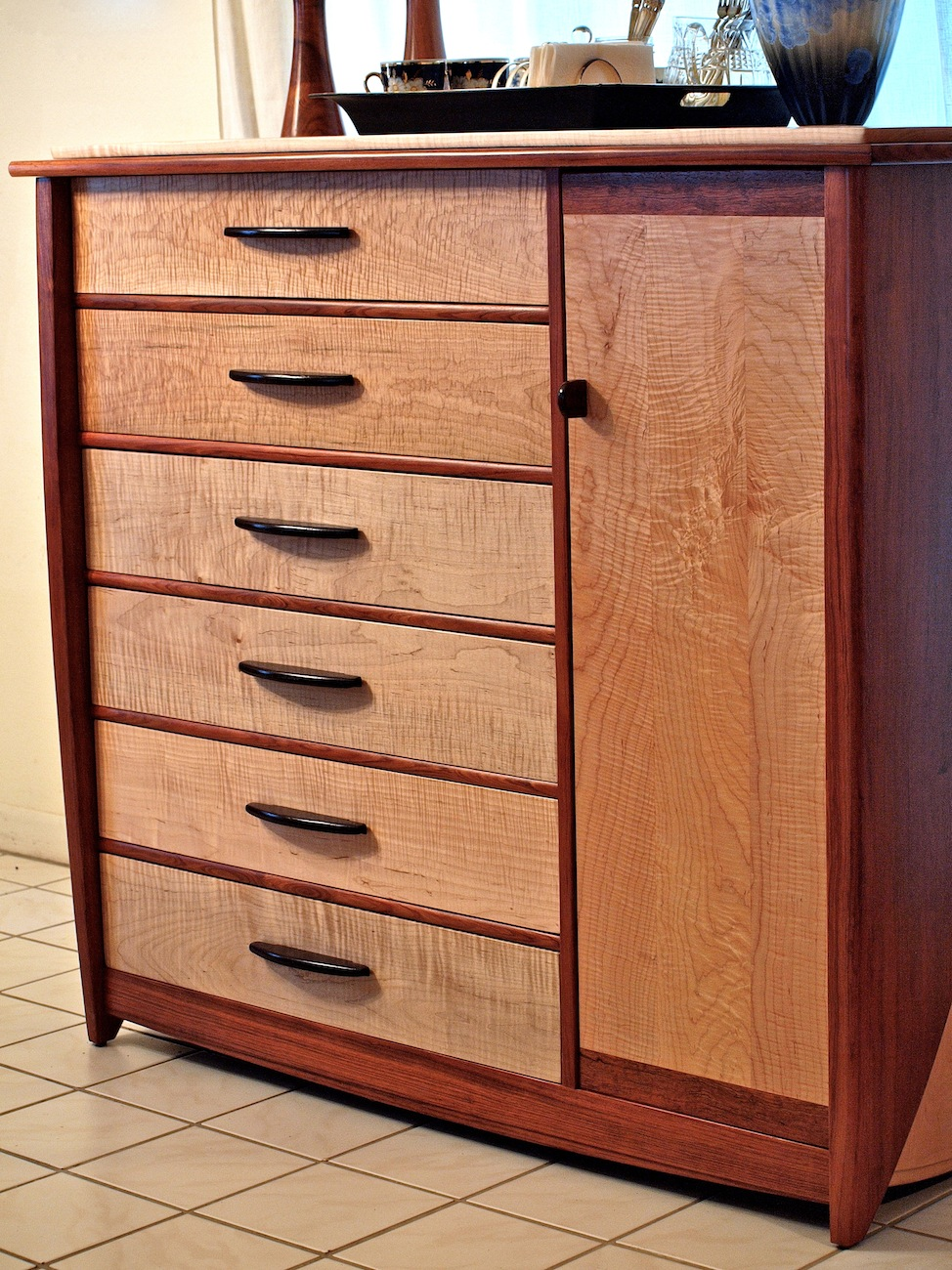 bubinga & curly maple dresser details
