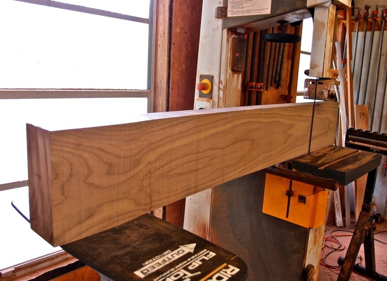 band sawing sleigh bed post