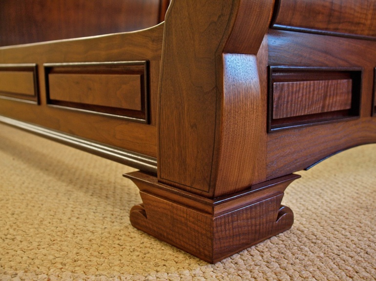 sleigh bed side rail & post