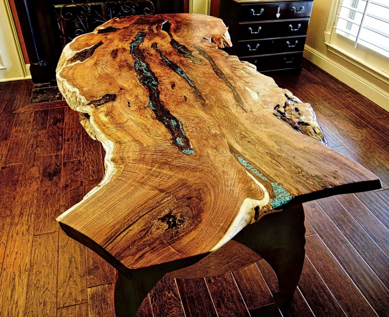 Live edge writing desk with mesquite top.