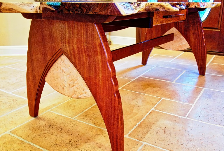Writing desk with live edge mesquite top.