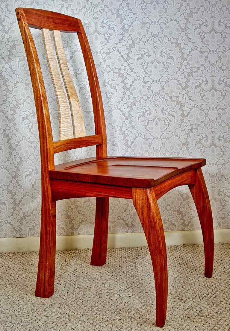 Bubinga And Curly Maple Dining Chair